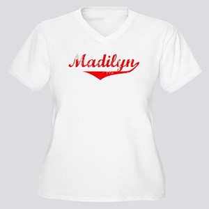 Madilyn Vintage (Red) Women's Plus Size V-Neck T-S