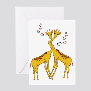 griraffes in love Greeting Cards