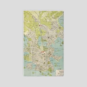 Vintage Map of Helsinki Finland (1920) Area Rug