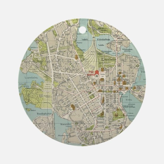 Vintage Map of Helsinki Finland (19 Round Ornament