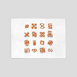 Distressed Adinkra Symbols 5'x7'Area Rug