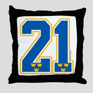 SE Sweden(Sverige) Hockey 21 Throw Pillow