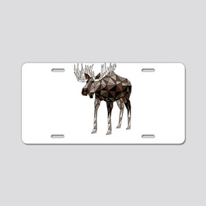 Geometric Moose Aluminum License Plate