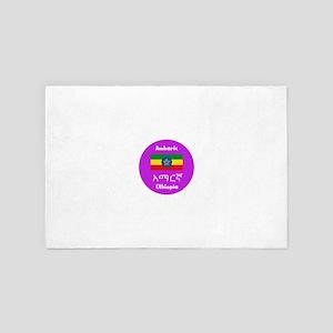 Amharic Language And Ethiopia Flag Des 4' x 6' Rug