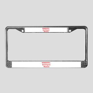 Warning: Intelligent Woman License Plate Frame
