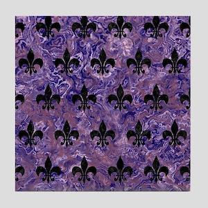 ROYAL1 BLACK MARBLE & PURPLE MARBLE Tile Coaster