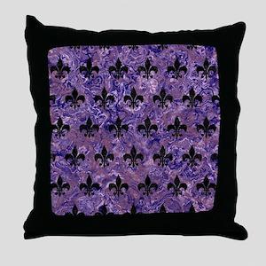 ROYAL1 BLACK MARBLE & PURPLE MARBLE Throw Pillow