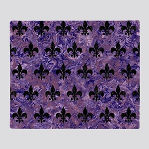 ROYAL1 BLACK MARBLE & PURPLE MARBLE Throw Blanket