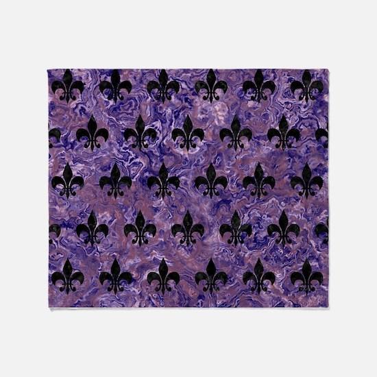 ROYAL1 BLACK MARBLE & PURPLE MARBLE Throw Blanket