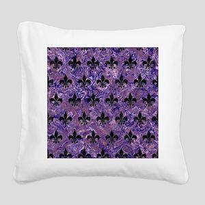 ROYAL1 BLACK MARBLE & PURPLE Square Canvas Pillow