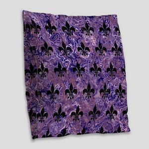 ROYAL1 BLACK MARBLE & PURPLE M Burlap Throw Pillow