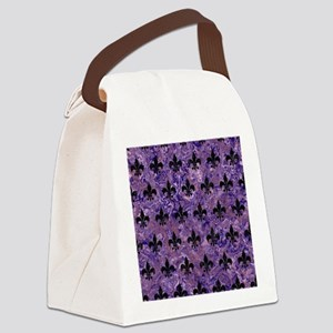 ROYAL1 BLACK MARBLE & PURPLE MARB Canvas Lunch Bag