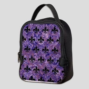 ROYAL1 BLACK MARBLE & PURPLE MA Neoprene Lunch Bag