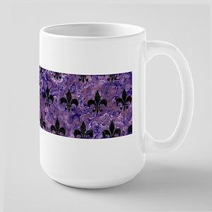 ROYAL1 BLACK MARBLE & PUR 15 oz Ceramic Large Mug