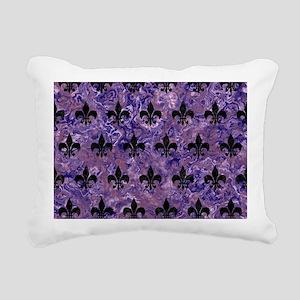 ROYAL1 BLACK MARBLE & PU Rectangular Canvas Pillow