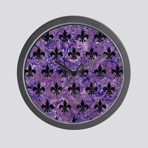 ROYAL1 BLACK MARBLE & PURPLE MARBLE Wall Clock