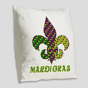 Mardi Gras Burlap Throw Pillow