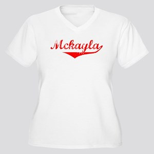 Mckayla Vintage (Red) Women's Plus Size V-Neck T-S