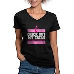 Check Out My Tatas (Ca Women's V-Neck Dark T-Shirt