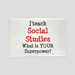 teach social studies Rectangle Magnet
