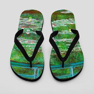 The Japanese Footbridge by Claude Monet Flip Flops