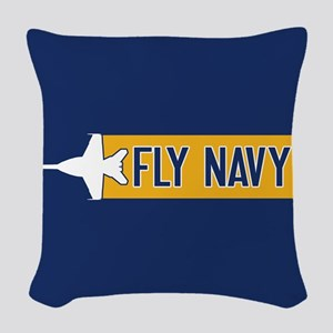 U.S. Navy: Fly Navy (F-18) Woven Throw Pillow
