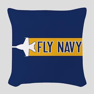 U.S. Navy: Fly Navy (F-18) Woven Throw Pillow