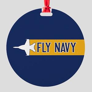 U.S. Navy: Fly Navy (F-18) Round Ornament