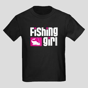 Fishing Girl Kids Dark T-Shirt