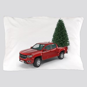 Santa Red Pickup Truck and Christmas T Pillow Case