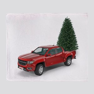 Santa Red Pickup Truck and Christmas Throw Blanket