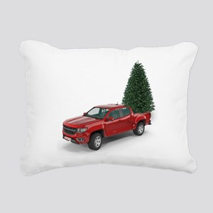 Santa Red Pickup Truck a Rectangular Canvas Pillow