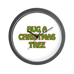 Hug Christmas Trees Wall Clock