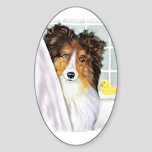 Sable Sheltie Bath Oval Sticker