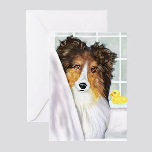 Sable Sheltie Bath Greeting Cards (Pk of 10)
