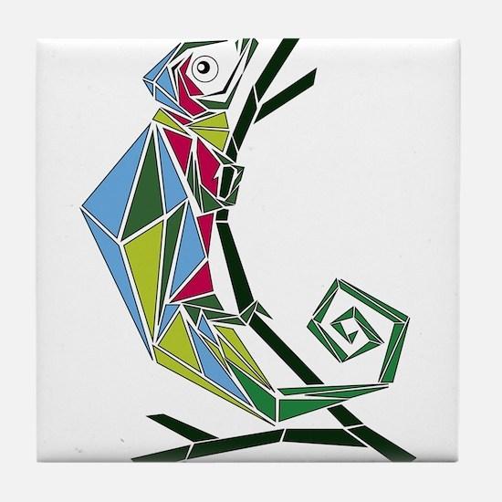 abstract chameleon Tile Coaster