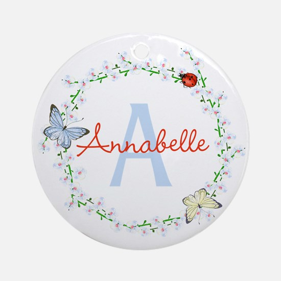 Cute Butterfly Floral Monogram Round Ornament