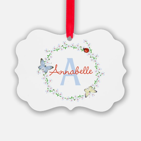 Cute Butterfly Floral Monogram Ornament