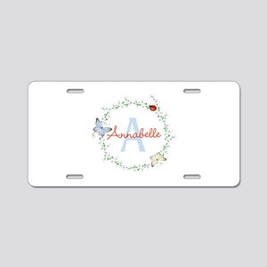 Cute Butterfly Floral Monogram Aluminum License Pl