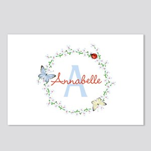 Cute Butterfly Floral Monogram Postcards (Package
