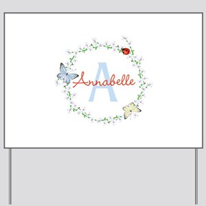 Cute Butterfly Floral Monogram Yard Sign