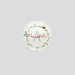 Cute Butterfly Floral Monogram Mini Button (10 pac