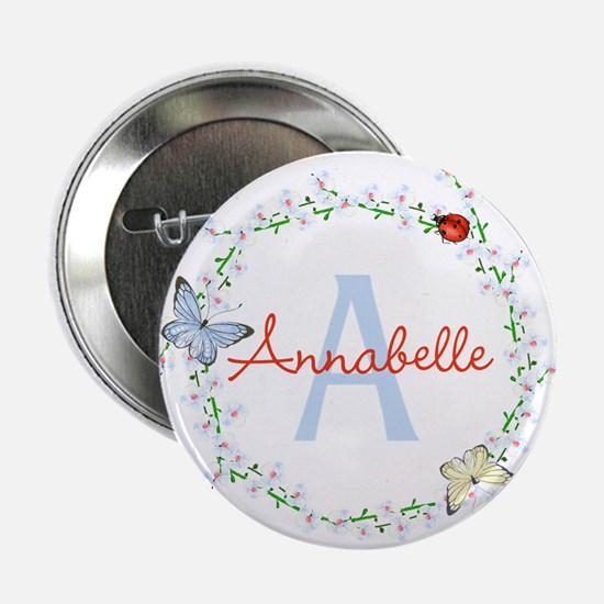 """Cute Butterfly Floral Monogram 2.25"""" Button (10 pa"""