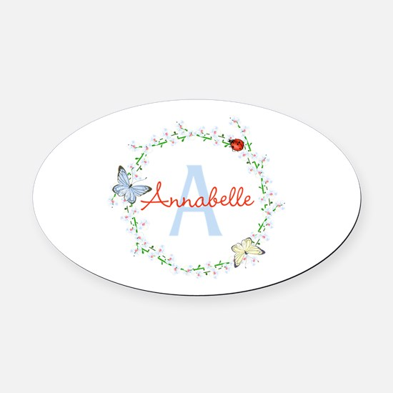 Cute Butterfly Floral Monogram Oval Car Magnet