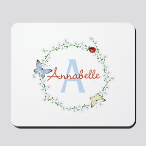 Cute Butterfly Floral Monogram Mousepad