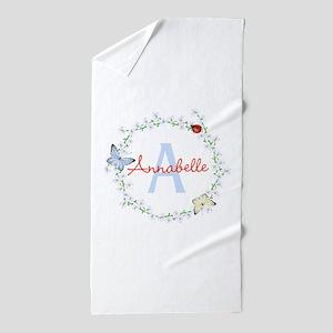Cute Butterfly Floral Monogram Beach Towel
