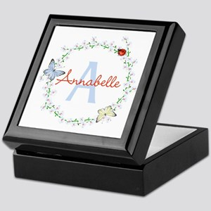 Cute Butterfly Floral Monogram Keepsake Box