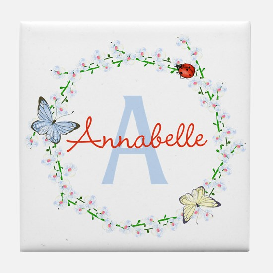 Cute Butterfly Floral Monogram Tile Coaster