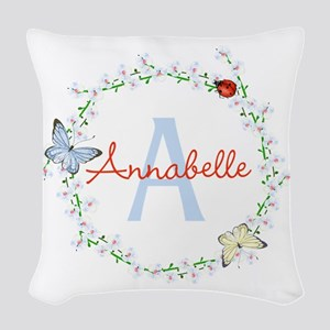 Cute Butterfly Floral Monogram Woven Throw Pillow