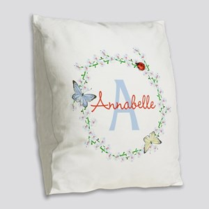 Cute Butterfly Floral Monogram Burlap Throw Pillow